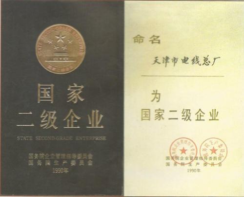 千亿国际开户线缆(原名天津市电线总厂)的国家二级企业证书